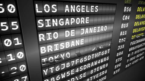 Black departures board showing delayed flights Animation