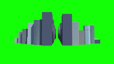 Cityscape on green background Animation