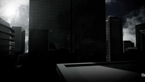 Cloudy sky over high skyscrapers Animation