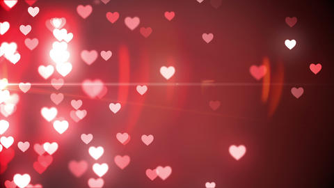 Glittering hearts on red background Animation