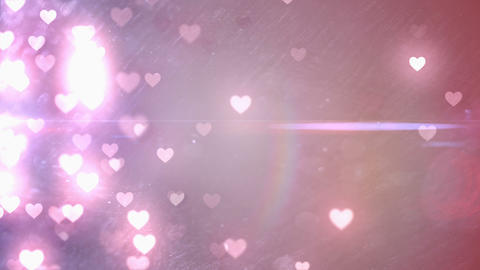Glittering hearts on pink background Animation