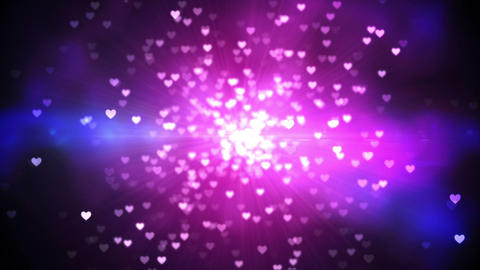 Purple shimmering hearts on black background Animation