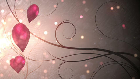 Red shimmering hearts with copy space Animation