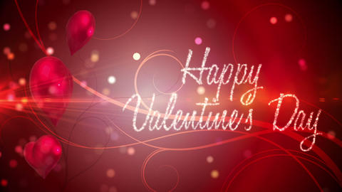 Shimmering hearts with valentines message Animation