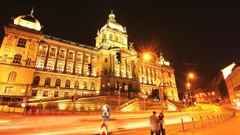 Timelapse of the National Museum in Prague Stock Video Footage