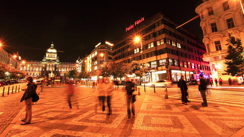 Timelapse of the Wenceslas square in Prague Footage