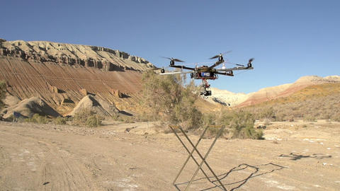 Flying Up Hexacopter SS HD stock footage