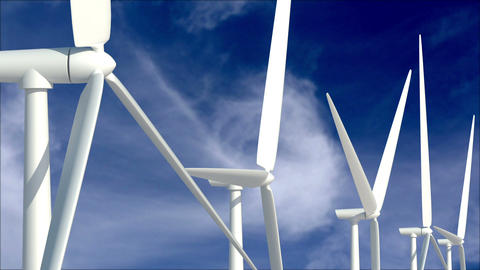 Wind turbines against cloudscape Stock Video Footage