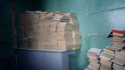 warehouse of educational books of textbooks at sch Footage