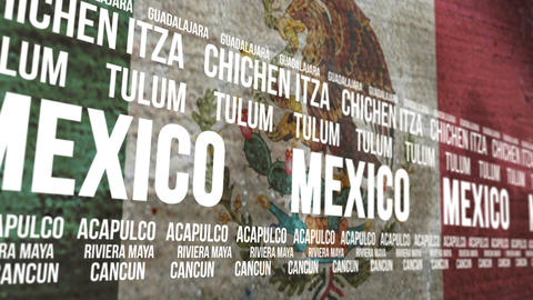 Mexico Flag Tourism Attractions Scrolling Animation
