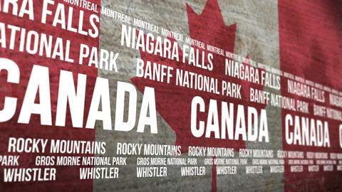 Canada Flag Tourism Attractions Scrolling Animation