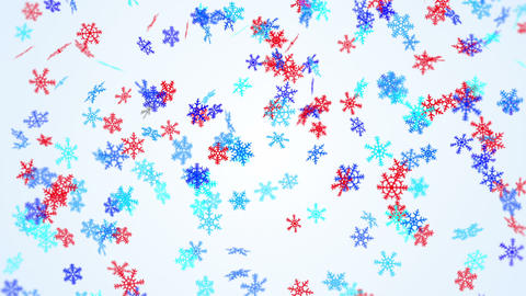 blue and red snowflakes falling seamless loop Animation