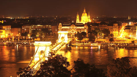 Timelapse of the panorama of Budapest at night Footage