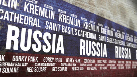 Russia Flag Tourism Attractions Banner Animation