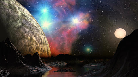 Huge Planet And A Bright Nebula In The Background  stock footage