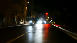 Timelapse streets at night stop sign Footage
