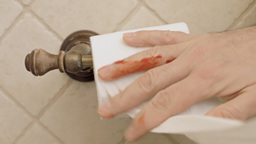 Toilet paper bloody hand taking sheet Footage