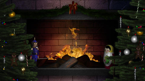 Fireplace - 3 - Winter Holiday - Christmas Trees Animation