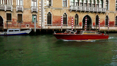 Tracking shot of a boat, Grand Canal, Venice, Vene Footage
