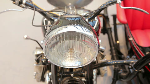 Exhibition of vintage motorcycles, close-up of the Footage