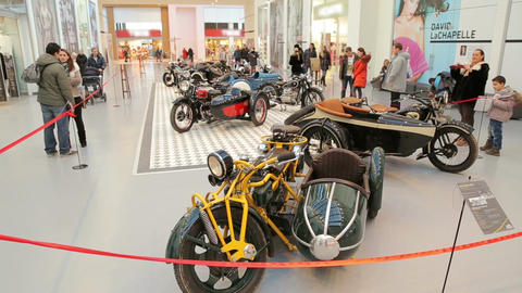 Exhibition of vintage motorcycles, wide plan Footage