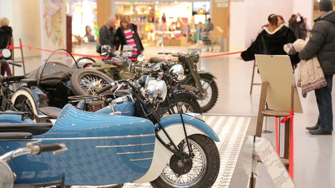 Exhibition of vintage motorcycles, visitors view t Footage
