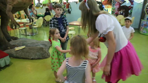 Animator greets with children Footage