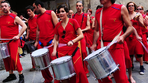Tilt down shot of a musical band, Siena, Tuscany,  Footage