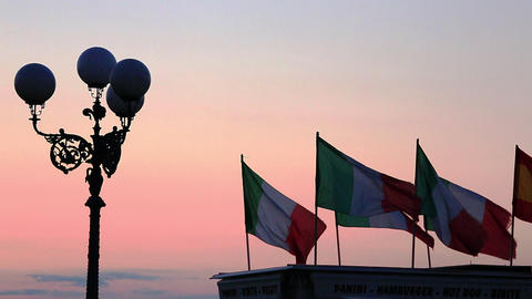 Locked-on Shot Of Italian Flags, Florence, Tuscany stock footage