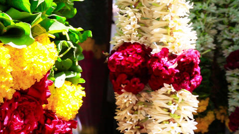Pan Shot Of Garlands, Chennai, Tamil Nadu, India stock footage