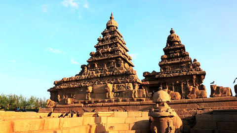 Locked-on Shot Of A Temple, Shore Temple, Mahabali stock footage