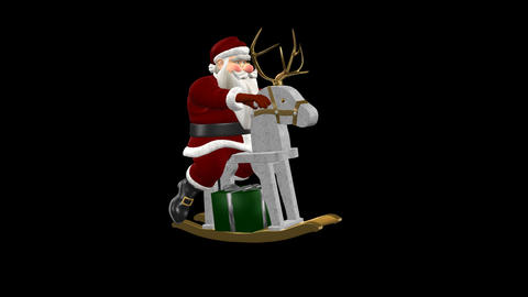 Santa Riding Wooden Reindeer With Golden Antlers - Animation
