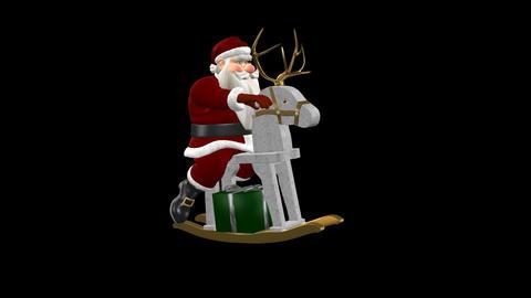 Santa Riding Wooden Reindeer With Golden Antlers - CG動画