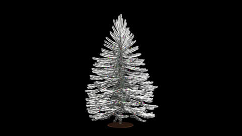 Christmas Tree With Lights - White - Spin Loop - A Animation