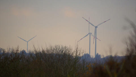 3 Power Poles, Wind Mills, Power Plant Stock Video Footage