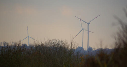 3 Power Poles, Wind Mills, Power Plant stock footage