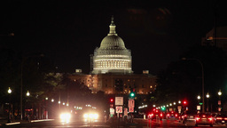 US Capitol Building And Street At Night In Washing stock footage