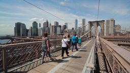 Brooklyn Bridge In New York City Swing Tilt Down stock footage