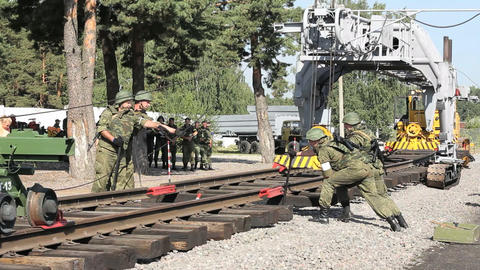 Soldiers are connecting railroads Footage