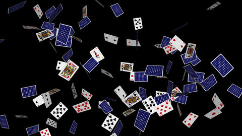 Poker Cards Explosion - 2 - Alpha stock footage