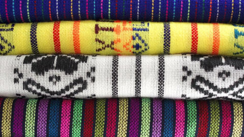 Overhead Dolly Traditional Mexican Fabrics stock footage