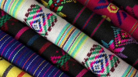 Diagonal Overhead Dolly Traditional Mexican Fabric stock footage