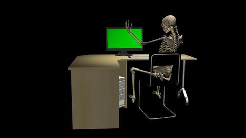 Skeleton At Computer - Long Back - Loop - Alpha Animation