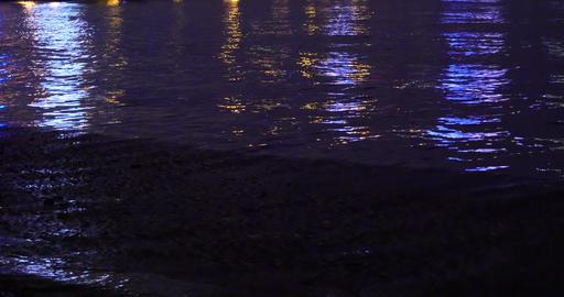 4k Video,Night Ocean Waves stock footage