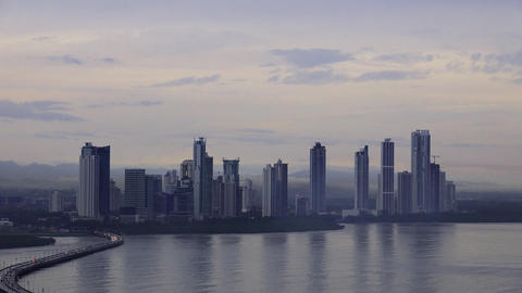 Panama City Buildings Traffic Cars Skyline At Dawn stock footage