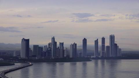 Panama City Buildings Traffic Cars Skyline At Dawn Footage
