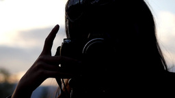 Silhouette Of Girl With Photo Camera - 08 stock footage