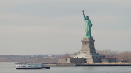 Statue Of Liberty From Boat In New York City stock footage