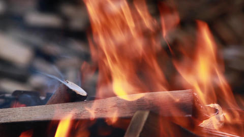 Flame Bonfire Close To stock footage