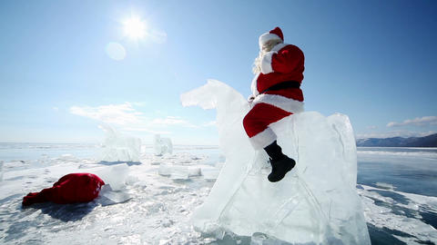 Travel Santa On Lake Baikal stock footage